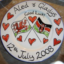 Flags Good Luck Hand Painted Personalised Plate 2008