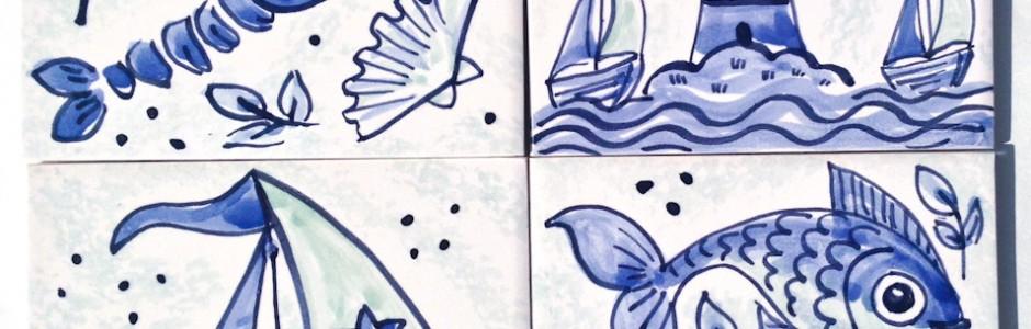 Hand Painted Blue & White Single Seaside Tiles