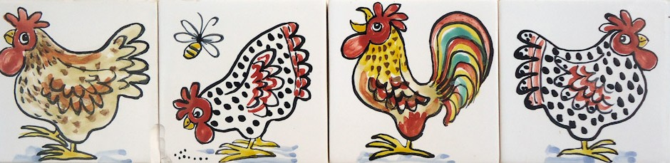 Hand painted single chicken tiles