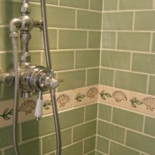 Hand Painted Tiles in Shower