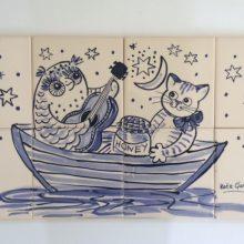 Owl pussy cat bathroom tile mural