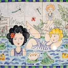 Hand Painted Pond Ladies Bathroom Tile Mural