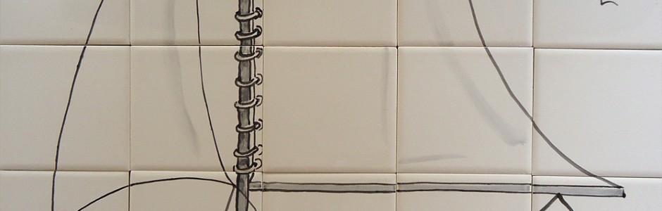 Sailing Boat Bathroom tiles -handpainted glaze