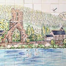 Talley Abbey in Carmarthenshire hand painted ceramic wall tiles