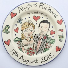 Wedding plate, golf, frog and flowers
