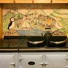 Coastal scene hand painted Aga kitchen tile splashback