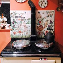 Aga kitchen splashback hand painted tile mural with hare and pheasant