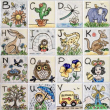 Alphabet ceramic hand painted tiles