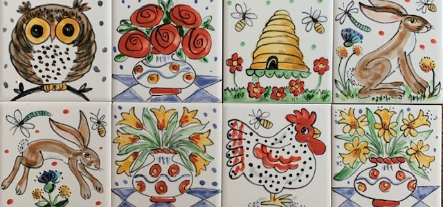 single tles, owl, hare, beehive and flowers