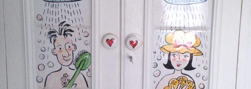 Hand Painted Mr & Mrs Bathroom Door Tiles