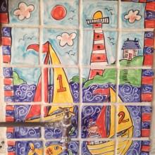 sailing boat tile mural bathroom sink splash back