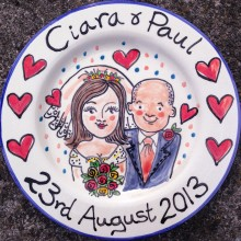 Hand painted personalised wedding plate 2013 C&P