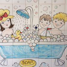 Bath-time tile mural