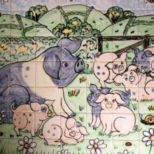 Farmyard pig hand painted tile mural