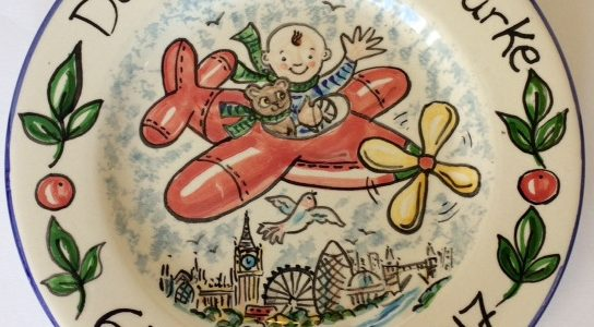 Celebrate the birth hand painted plate red plane