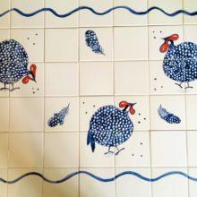 blue hen hand painted kitchen mural