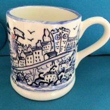 Hand painted blue Llandeilo mug
