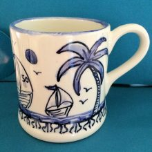 Hand painted blue holiday mug