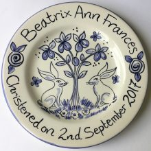 Hand painted blue-white Christening plate