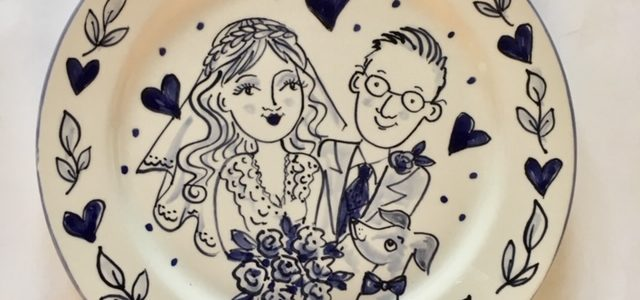 blue white delft style personalised wedding plate