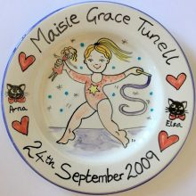 Celebration Gymnast hand painted plate