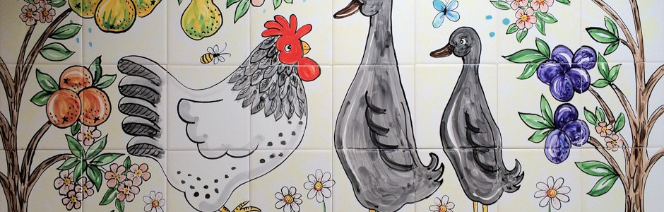 Chicken and duck kitchen splashback
