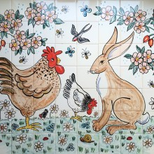 chicken and hare kitchen tile mural