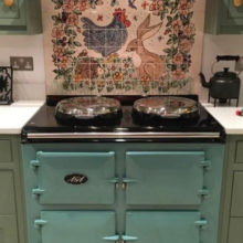 Chicken and Hare tile mural splash back behind Aga