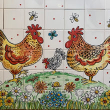 Chickens hand painted mural