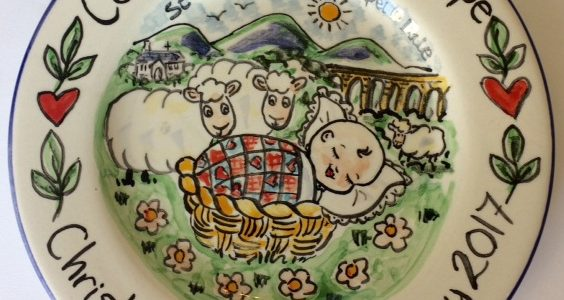 Christening hand painted plate sheep