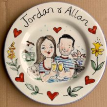 Congratulations hand painted plate