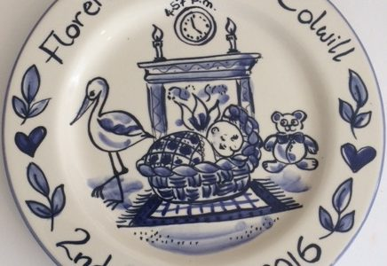 Delft blue and white personalised new baby plate
