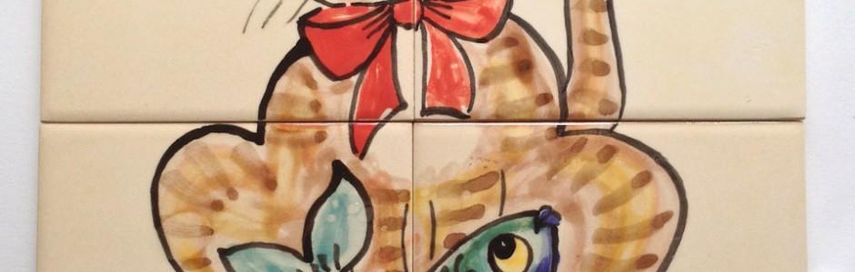 Cat and Fisah tile mural