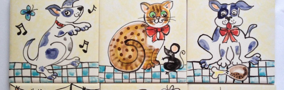 Single cat and dog ceramic wall Tiles