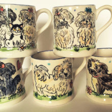 Hand painted personalised ceramic mugs by Kate Glanville