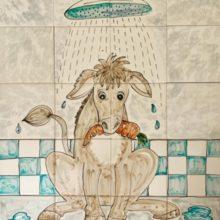donkey shower tile mural