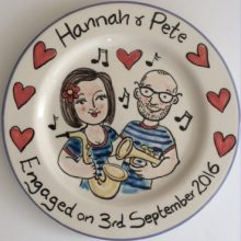 Hand painted celebration of Engagement plate gift