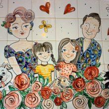 family tile mural for the kitchen