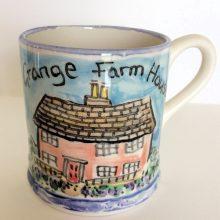 hand painted farm mug