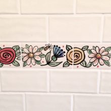 Hand painted bathroom flower tiles