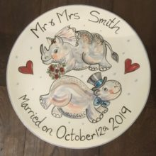 fun mr and mrs hand painted wedding plate