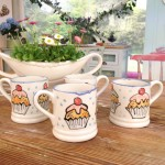 Hand painted mugs commisioned for The Great British Bake Off