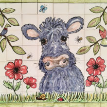 Hairy cow hand painted kitchen tile mural