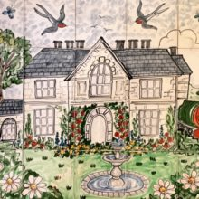 hand painted house tile mural