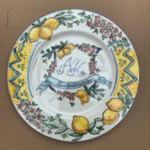 Hand plated anniversary date lemon plate