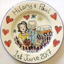 Wedding plate hand painted personalised