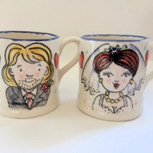 Hand painted wedding mug gifts