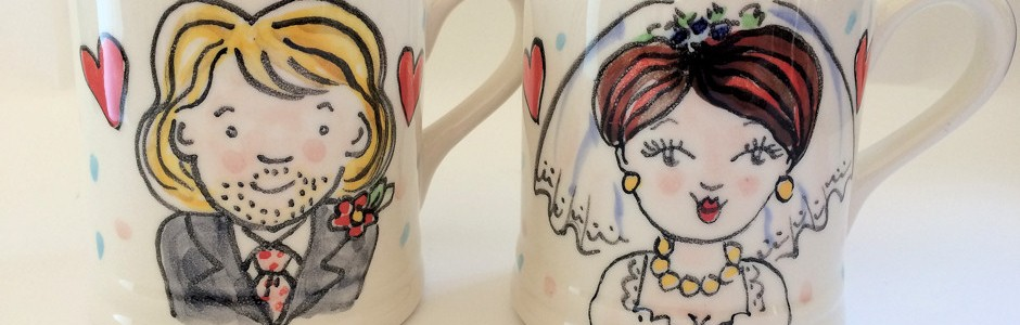 Hand painted wedding mug gifts