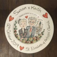 hand painted wedding plate october 2019
