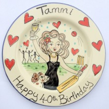 Happy 40th birthday hand painted plate